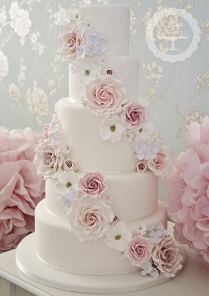 "Beautiful ""Floral Abundence"" wedding cake by Cotton and Crumbs. #wedding #cake"