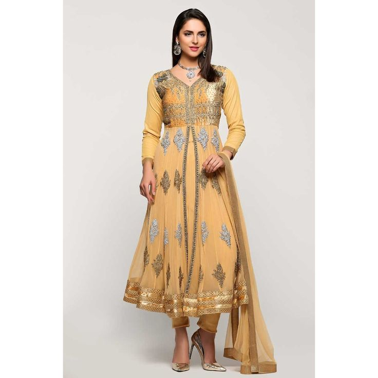 Diya collection, Anarkali churidar net cheap indian prom suit, Beige zari embroidered andaaz garments now in shop. Andaaz Fashion brings latest designer ethnic wear collection in UK  http://www.andaazfashion.co.uk/salwar-kameez/anarkali-suits/beige-net-anarkali-churidar-suit-with-dupatta-1771.html