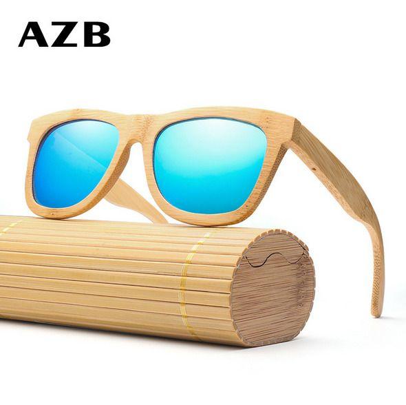 Handmade Unisex Bamboo Wood Polarized Sunglasses Wooden Frame Fashion Glasses