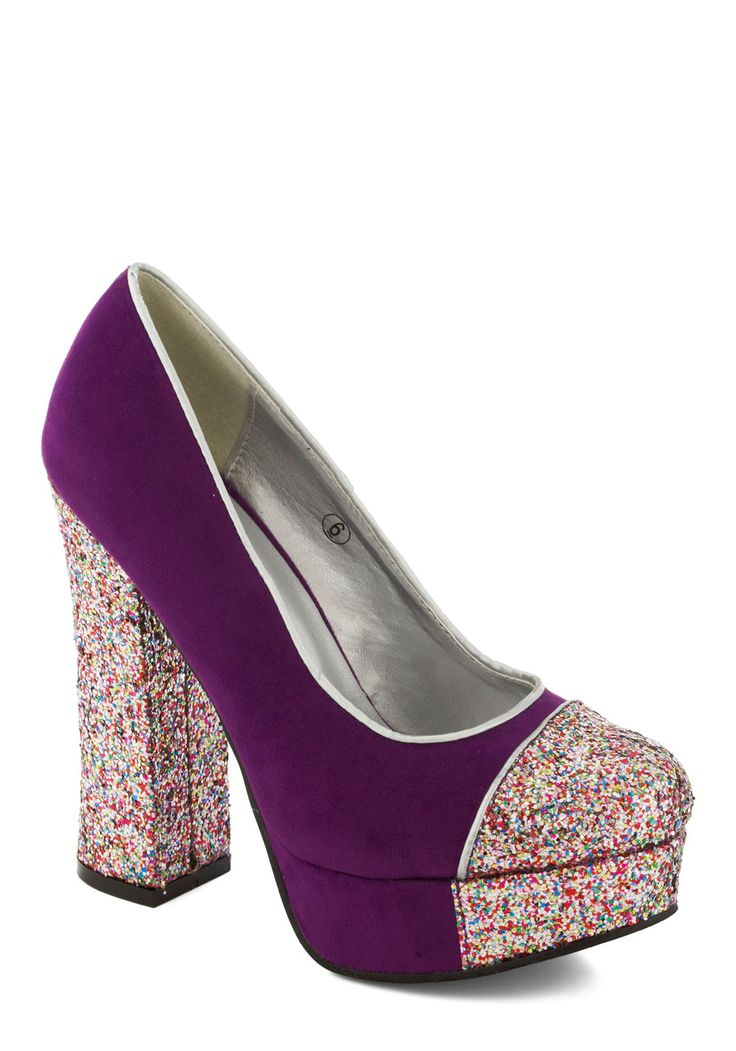 Gold Coast Heel in Violet - Purple, Multi, Solid, Glitter, High, Platform, Party, Girls Night Out, Holiday, Holiday Party