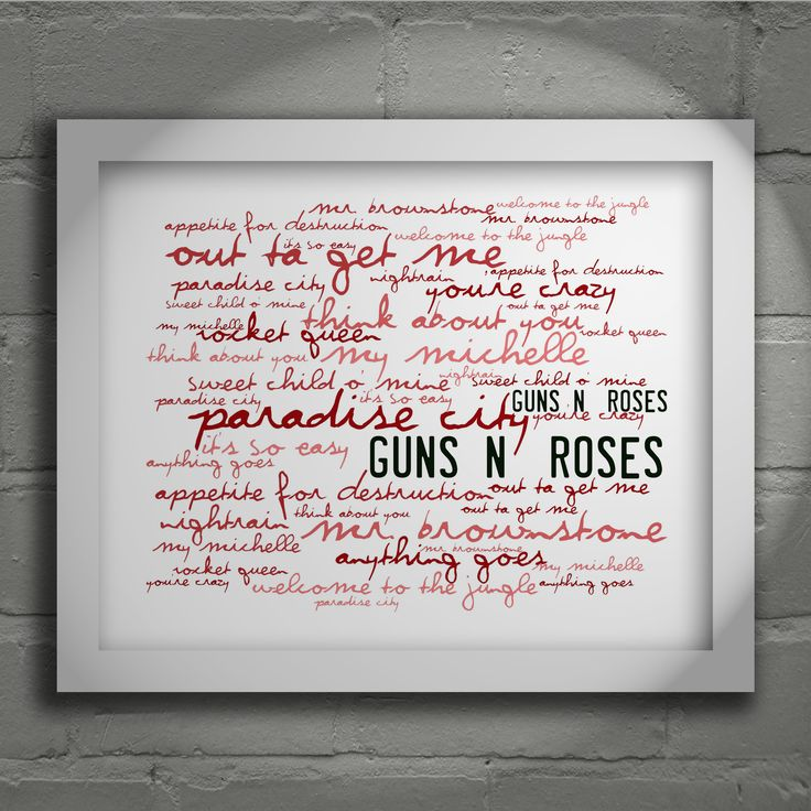Guns N Roses Appetite For Destruction 'Zephyr'  limited edition typography lyrics art print, signed and numbered wall art poster available from www.lissomeartstudio.com