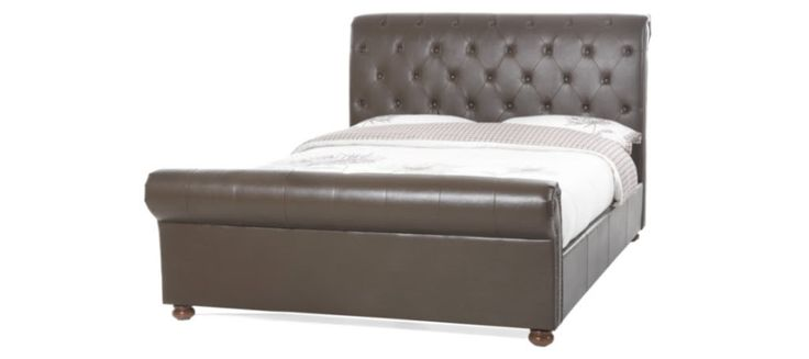 #Andria #Double 4ft 6 Brown Faux Leather #Bed Frame £420.00