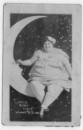 "Paper Moon Fat Lady ""Little Baby Viola"" Sits on Paper Moon 1920's RPPC 