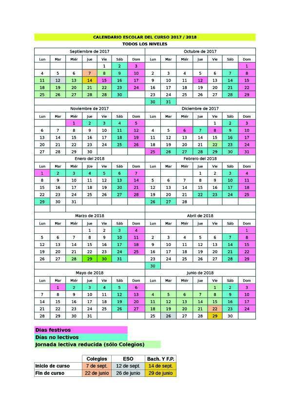 Calendario Escolar 2017-18 | Colegio Sagrados Corazones de Torrelavega