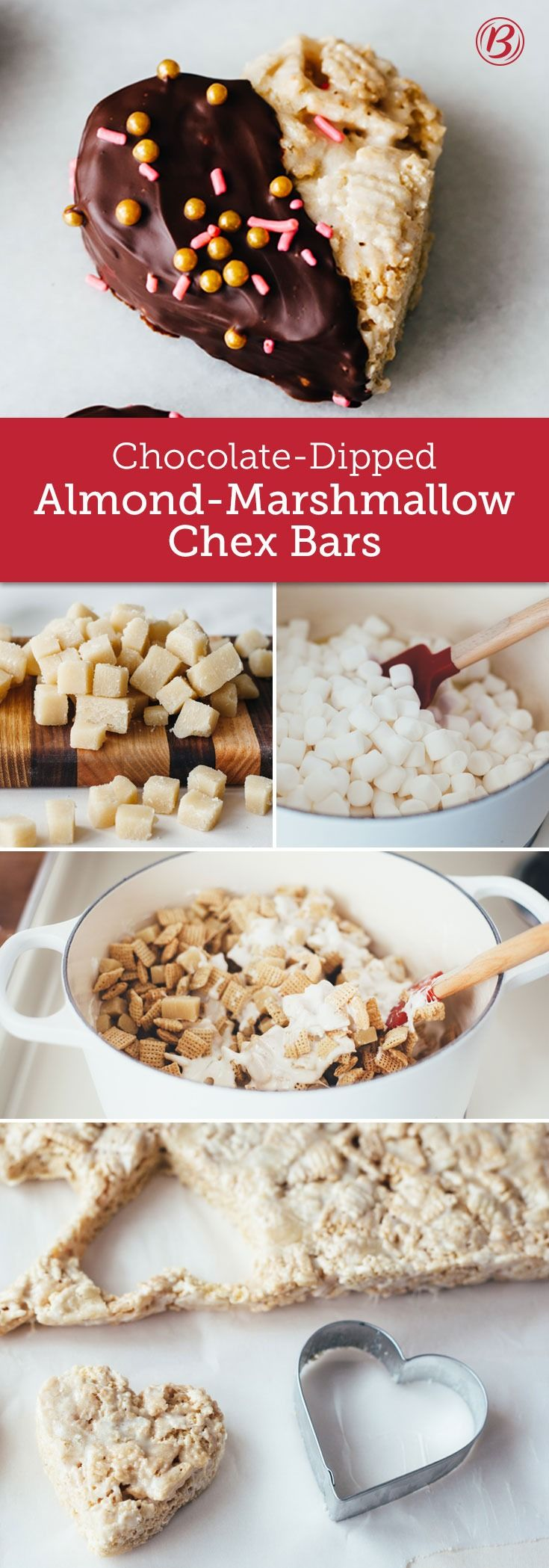 Combine the sophisticated flavor of almond with the crunchy sweetness of Chex™ marshmallow treats for a delicious Valentine's Day goodie. If it's too much of a mess to dip the bars in melted chocolate, just stir some chocolate chips into the cereal mixture instead.