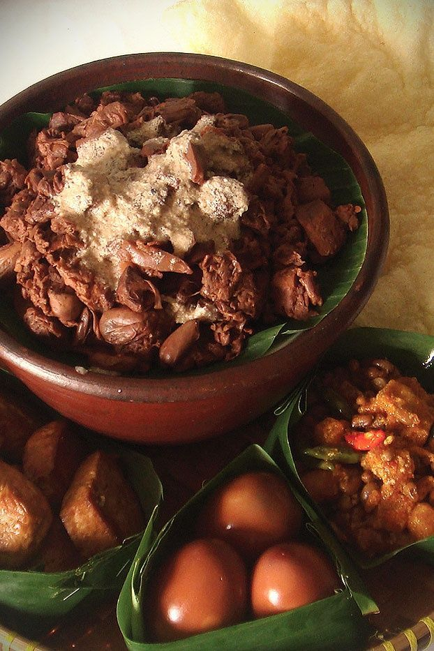 GUDEG. ( is a sweet young jackfruit dish usually served with rice, egg, chicken, Tofu and Tempeh sambal and crunchy beef skin (Krecek), Traditional food from Yogyakarta, Indonesia ). #food #recipe #food #recipe
