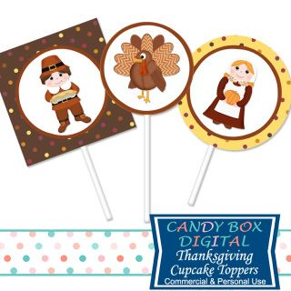 It's time for a gathering of loved ones, a time of thanks, and these cupcake toppers will help you with that celebration.  Great for your DIY Thanksgiving party decor!