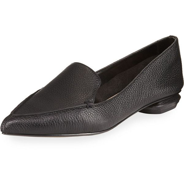 Neiman Marcus Pebbled Pointed-Toe Loafer ($123) ❤ liked on Polyvore featuring shoes, loafers, black, black flats, black pointy toe flats, flat shoes, black leather flats and black loafer flats