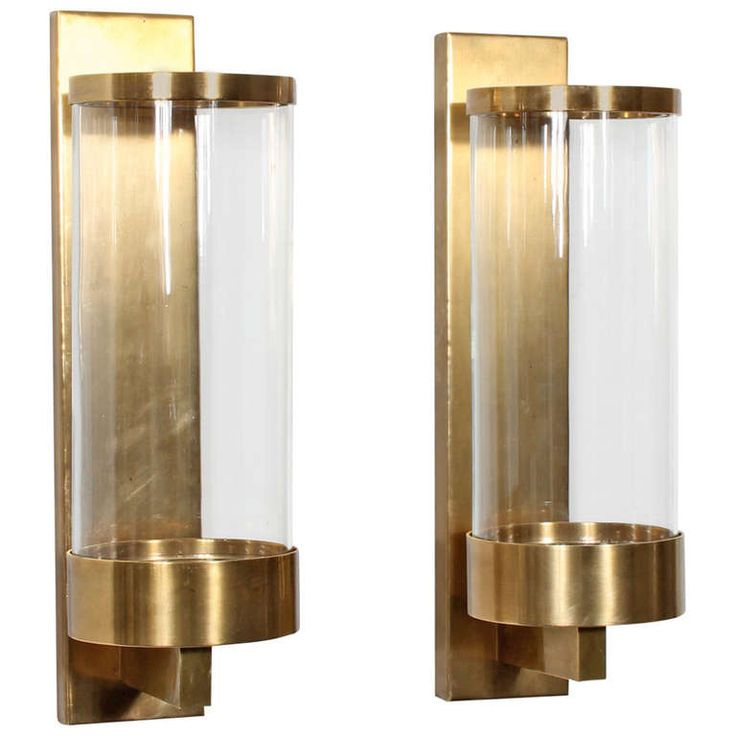 pair of modern cylinder glass and brass wall sconces
