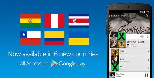 Google Play Música Acceso Total ahora activo en Bolivia, Chile, Colombia, Costa Rica y Perú, que junto a México y España, ya son 7 los países de habla hispana que pueden disfrutar del servicio de streaming de música de Google.