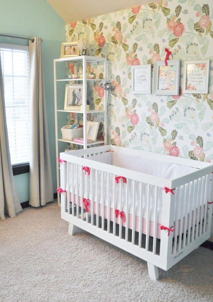 Floral Pink Peony and Mint Nursery - love this accent wall paired with a modern crib!
