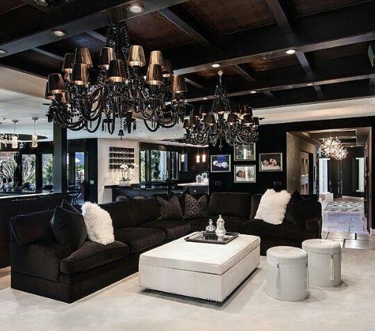 Wohnzimmer, Schwarze Wohnzimmer, Haus Wohnzimmer, Wohnzimmer Sofas,  Inspiriere Mich Haus Dekor, Weiß Hauptdekor, Haus Interieurs, Drama