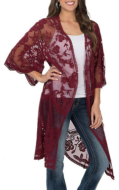854de7a60699 She + Sky Women's Burgundy Crochet Lace Duster Cardigan | Country ...