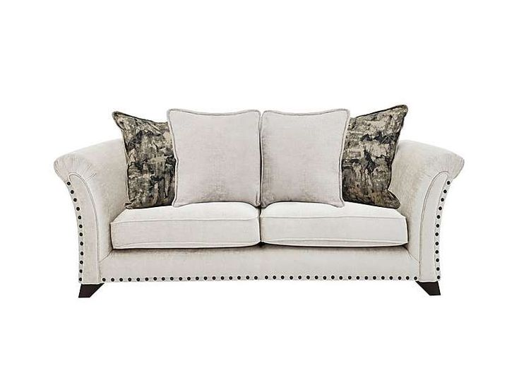 Holly 3 Seater Pillow Back Fabric Sofa With Studs Fabric Sofa Leather Upholstery Furniture Protection Plans
