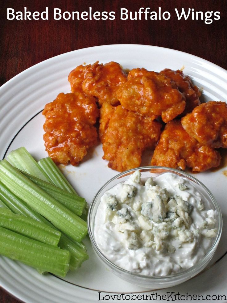 A healthier alternative to fried Buffalo Wings - Baked Boneless Buffalo Wings with Blue Cheese Dip -  ohhhhh YuM!!  ♥