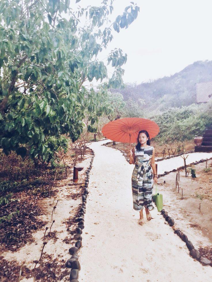 Alyssia Pasha wearing our Camouflage Jumpsuit spotted in Lombok, Indonesia. #naturaldye #imajistudiolooks #wabisabi