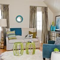 Rachel Reider Interiors - bedrooms - ivory, walls, mirrored, chest, teal, blue, velvet, chair, blue, Greek key, pillow, silk, taupe, drapes,...