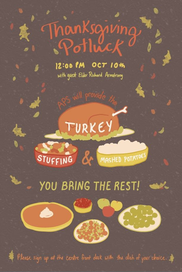 Thanksgiving Potluck Flyer Template Free In 2019 Potluck