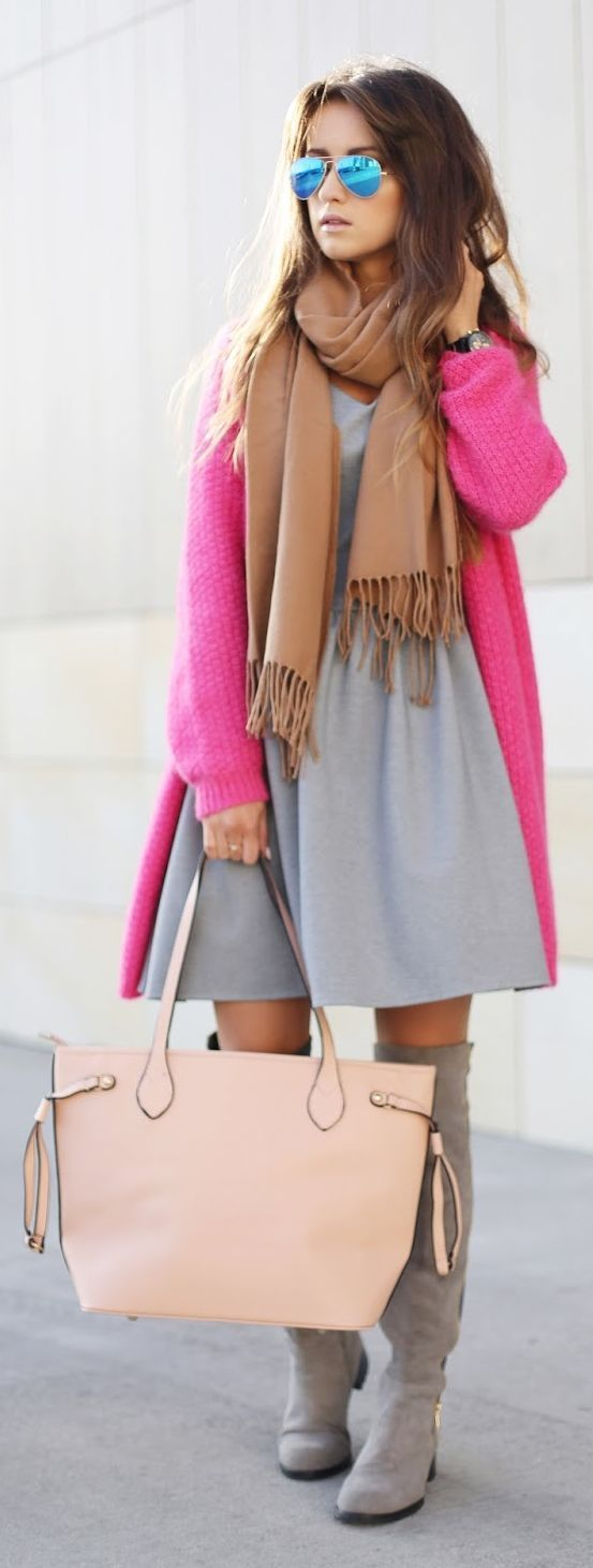 Pink Cable Knit Cardi + Knee Boots
