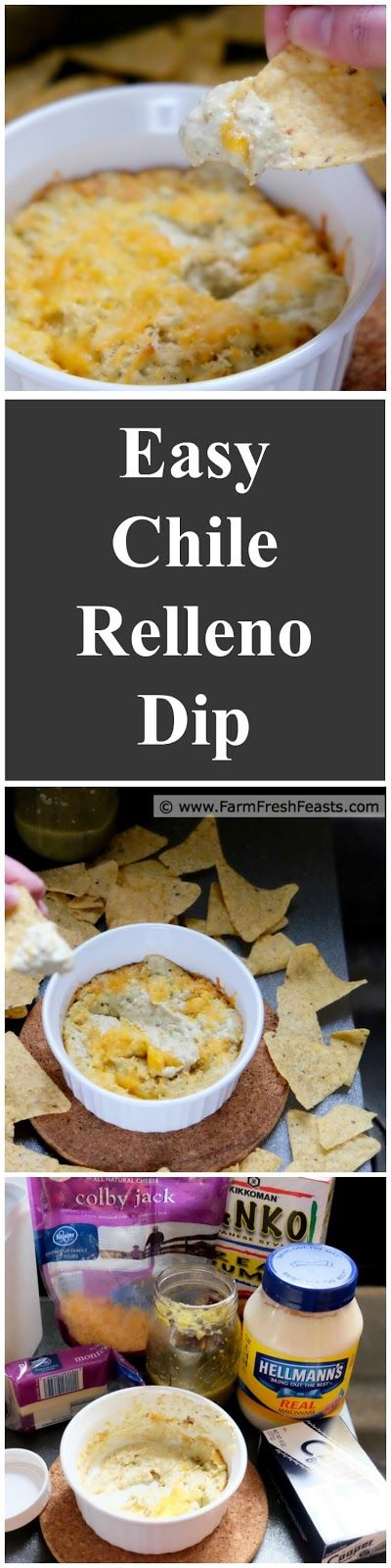 Easy Chile Relleno Dip--using just 6 ingredients and no fancy appliances, make a hot, cheesy & spicy vegetarian dip for your appetizer spread.