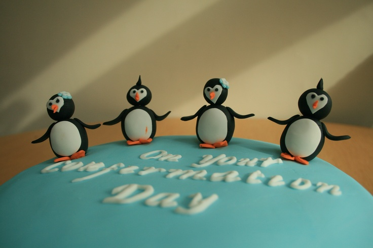 Penguin themed confirmation cake.