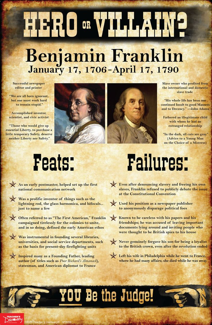 History tends to judge our past leaders as extremes: Abraham Lincoln was an American hero! Benedict Arnold was a traitor! As teachers, it's tempting at times to present a world as black and white to our students: good or evil, friend or foe, hero or villain. Use this Benjamin Franklin mini-poster to help students take off the rose-colored glasses and see beyond the established historical narratives and into the real world of gray. ©2016. 11 x 17 inches. Cardstock.