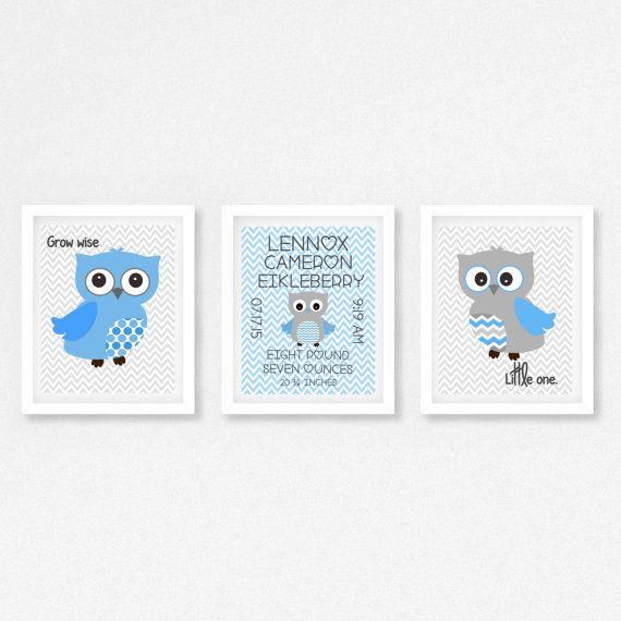 Baby Boy Nursery Print Baby Boy Owl Print by PerfectLittlePrints