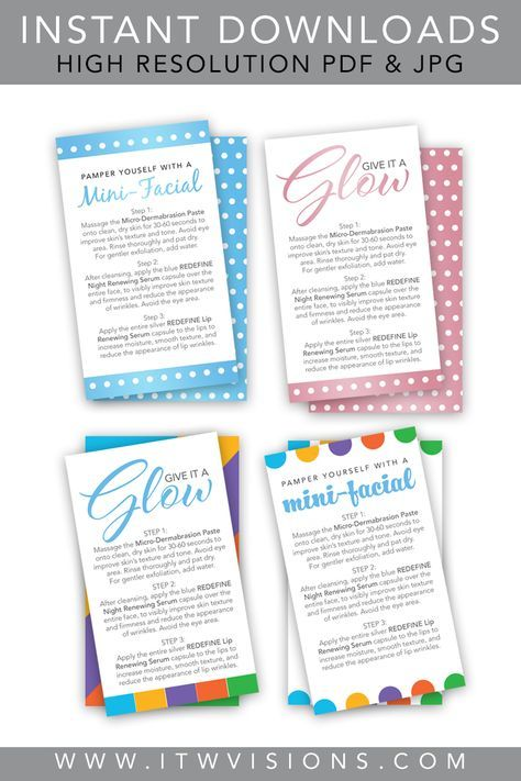 LOVE these Rodan+Fields mini-facial instruction cards, they are super easy to download and print. There is a high resolution PDF and JPG file of each side of the card. Have them printed or print them yourself at home. Rodan and fields business / rodan and fields instant download / rodan and fields mini facial instruction card / rf instant download / give it a glow card /