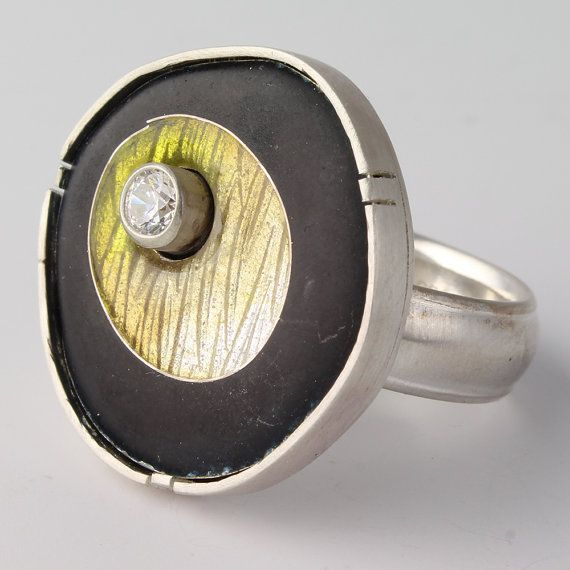 Sterling Yellow Ring Silver Cloisonne Enamel Round Pattern Texture – 'Yellow Floating Circle'
