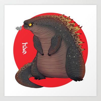 The new Godzilla is fatter than previous incarnations.  ;-)  __  GODZILLA Art Print by olivier silven - $15.00