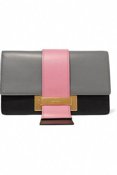 4e1f0120839789 PRADA Ribbon large color-block leather clutch. #prada #bags #shoulder bags