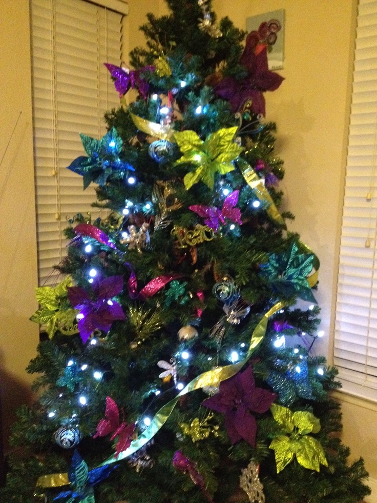 peacock blue purple lime green christmas tree seasons christmas christmas holidays green. Black Bedroom Furniture Sets. Home Design Ideas