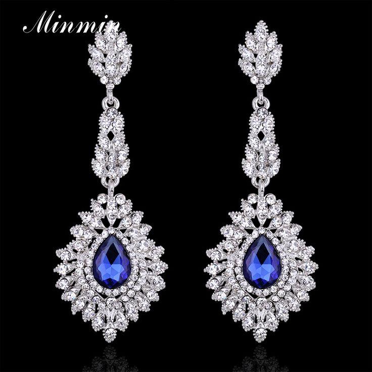 Minmin blue teardrop crystal lange oorbellen zilver kleur kroonluchter opknoping oorbellen bruids sieraden voor vrouwen eh192
