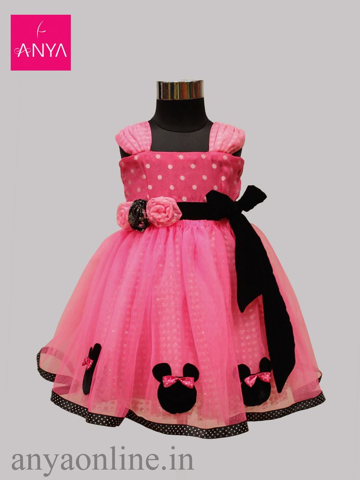 Graceful Baby Pink net frock with Mickey mouse lace customised from Anya Coimbatore.  #Graceful #Customised_frock #Anya_coimbatore