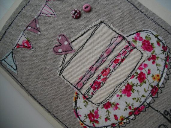 A very pretty handmade machine embroidered card, this is sewn onto oatmeal linen and mounted onto a quality cream card. With a couple of pink