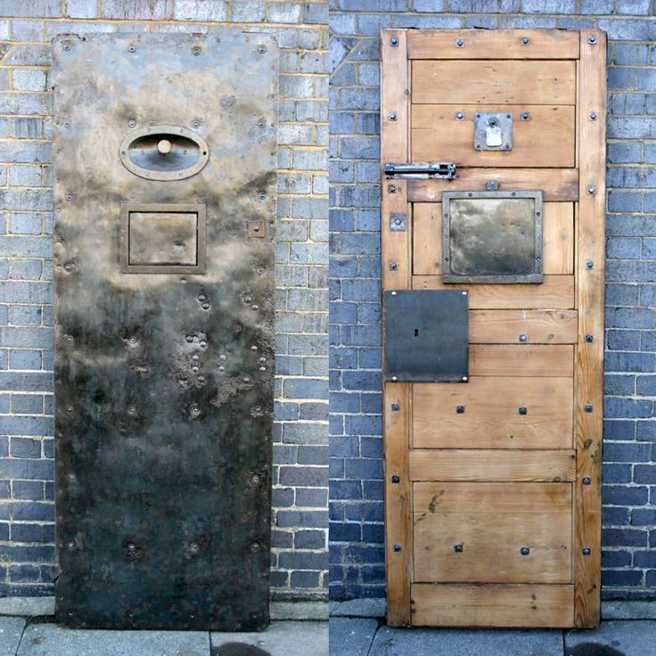 Victorian prison cell doors from Clerkenwell prison.  One of the wonderful antique doors also featured in ITV's Downton Abbey. You may recognise the spy-hole and hatch from a scene depicting poor Mr Bates in prison! For sale on SalvoWEB from Architectural Forum in London [Salvo code dealer] #discoversalvage
