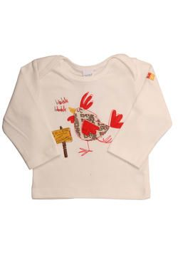 "White rooster newborn boys' long-sleeved top with a fun ""Farm Animal"" design, finished with a Naartjie Kids SA label. 100% cotton excluding trims."