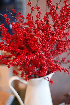 Bright Red Berries in a pitcher. Place on kitchen table. Modern Country Home Decor