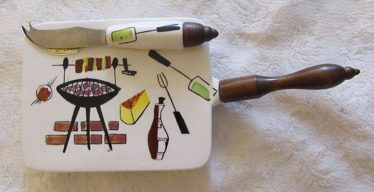 Vintage Mid-Century Modern Cheese Platter and Knife Retro Mad Men