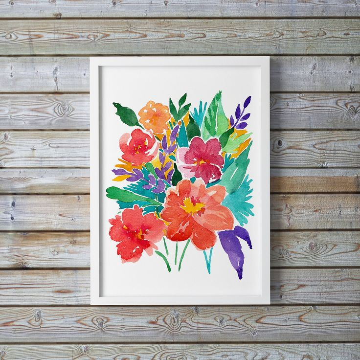 Original Handprinted Watercolor Bouquet