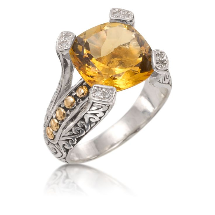 Anillo de plata y oro con citrinos y brillantes   Santarelli Joyas -
