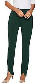 As Is Susan Graver Regular Premium Stretch Pants with Tulip Hem