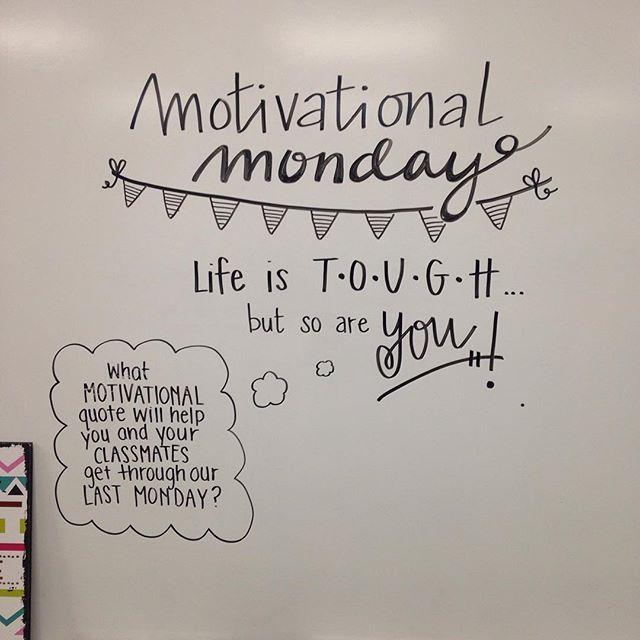 Motivational Monday - Morning Meeting board goals Life is Tough but so are you. #miss5thswhiteboard