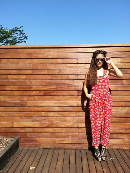 Clear sky, sun and red jumpsuit (by One Of My Kind Shop) http://lookbook.nu/look/4474223-Clear-sky-sun-and-red-jumpsuit