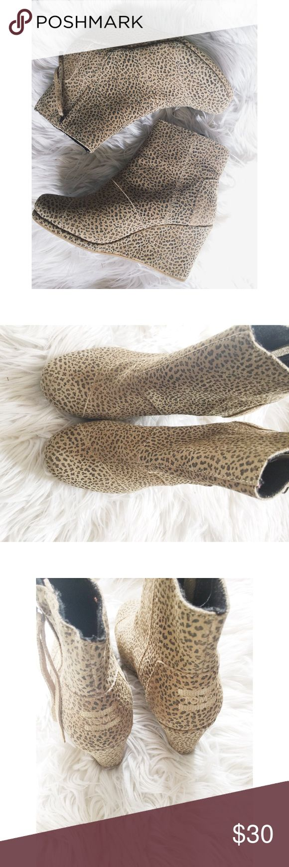 TOMS Desert Sand Wedge Booties TOMS Desert Sand Wedges.  Cheetah print.  Women's size 8.  Good used condition.  No box. Toms Shoes Ankle Boots & Booties