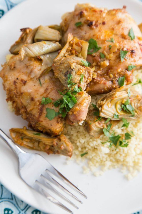 Baked Chicken with Artichokes, Cinnamon, and Preserved Lemons