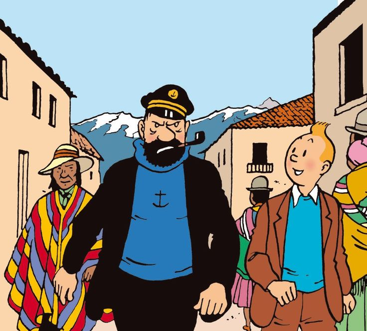 "Captain Haddock marches through the streets of Callao, Peru, in search of his friend Professor Calculus, in ""Prisoners of the Sun""."