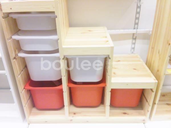 【IKEA通販】収納セット子供部屋TROFASTパイン材レッドホワイトイケア送料無料