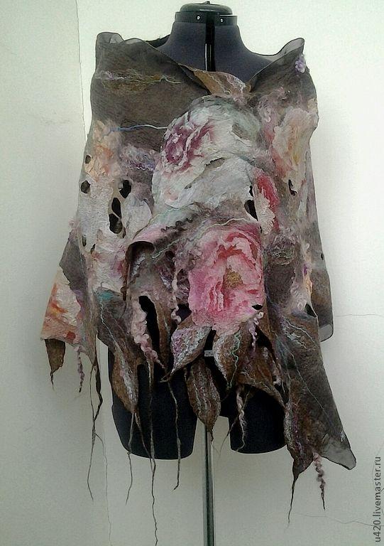 """Купить Валяный палантин """"Пионы"""" - цветочный, войлочный шарф, войлочный палантин, нуновойлочный палантин"""