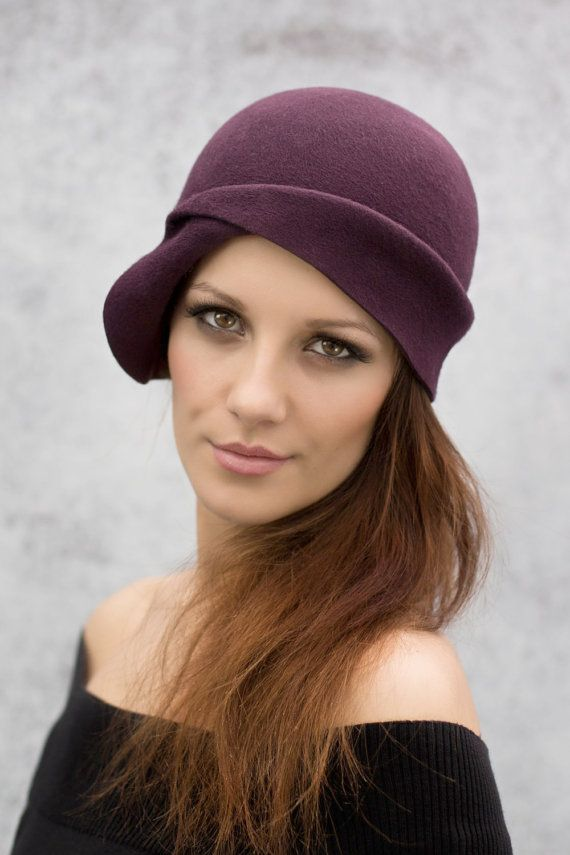 Plum Cloche Hat Wool Felt City Day Wear 1920s by MaggieMowbrayHats